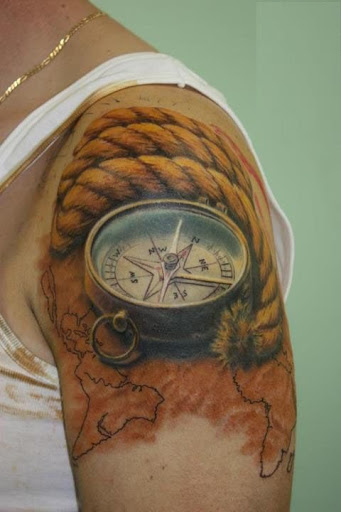 7d9d1db5b4283 50 Best Compass Tattoo Designs and Ideas