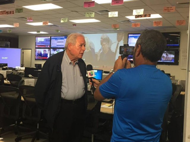 Miami Mayor Tomás Regalado gives an interview Friday from the city of Miami's Emergency Operations Center in downtown, 8 September 2017. Photo: David Smiley