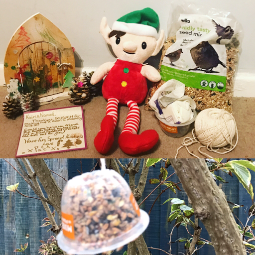 Kindness Elf making a bird feeder