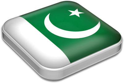 Flag of Pakistan with metallic square frame