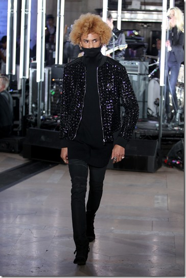 NEW YORK, NY - FEBRUARY 13:  A model walks the runway wearing look # 5 for the Philipp Plein Fall/Winter 2017/2018 Women's And Men's Fashion Show at The New York Public Library on February 13, 2017 in New York City.  (Photo by Thomas Concordia/Getty Images for Philipp Plein)