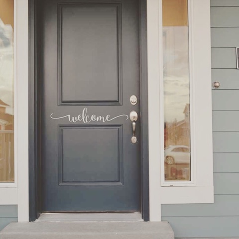 This Beautiful Cursive Welcome Door Sticker Is Classy And Inviting. You  Will Have All The Neighbors Envious. We Have Many Colors To Choose From.