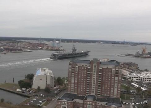 Ike finally departing the shipyard