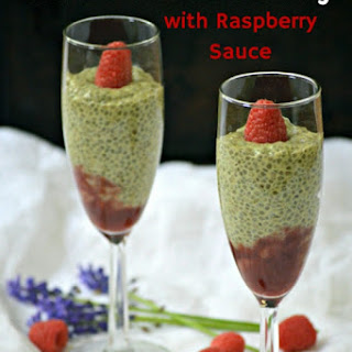 Matcha Green Tea Chia Pudding with Raspberry Sauce Recipe