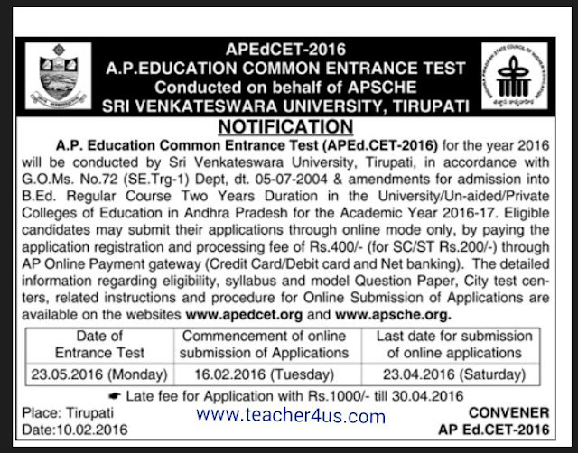 AP Ed.CET 2016-APEDCET 2016 Notification Apply Online Last Date 23-04-2016
