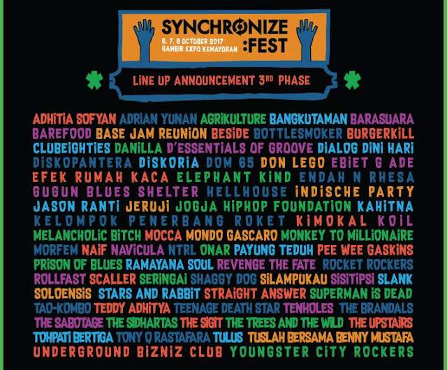 Event Oktober: SYNCHRONIZE FEST 2017 Tempat Gembir Expo Kemayoran Jakarta