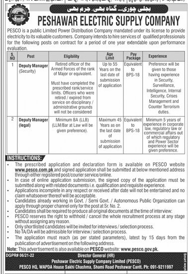 WAPDA PESCO Jobs 2021 KPK WAPDA Jobs 2021 Peshawar WAPDA Jobs