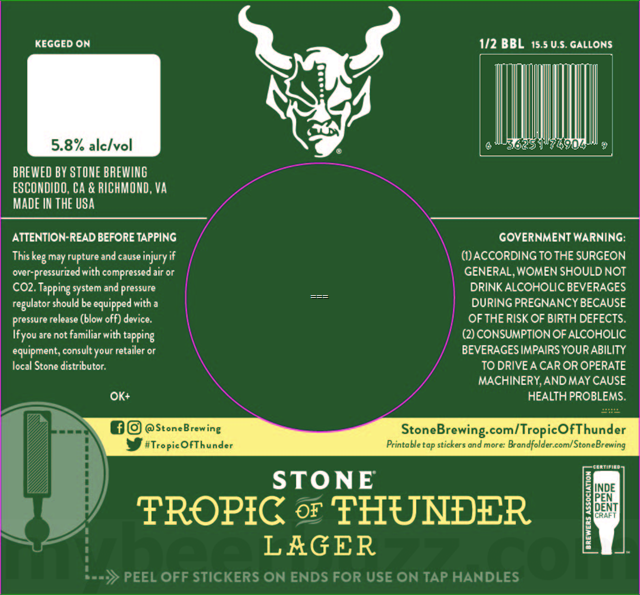 Stone Adding Tropic Of Thunder Lager