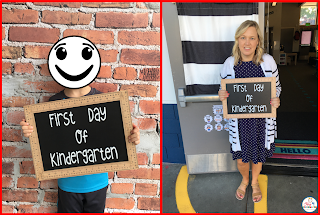 First Day of School photo with photo board sign
