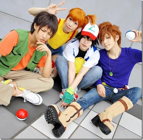 pokemon cosplay - taskeshi / brock, kasumi / misty, satoshi / ash ketchum, and okido shigeru / gary oak