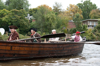 Passing Farliegh's student hall, RE-ENACTORS ON  BATTOE 'MOON' ON THE HACKENSACK RIVER. Photos by TOM HART/  FREELANCE PHOTOGRAPHER.