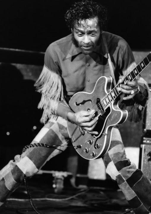 CANVAS Chuck Berry Playing a Guitar Art Print Poster