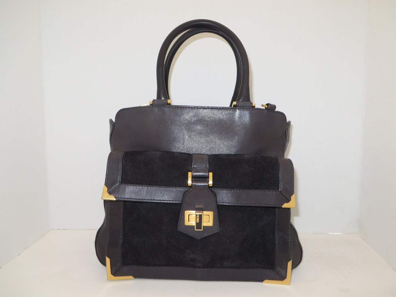 Fendi Leather and Suede Shoulder Bag