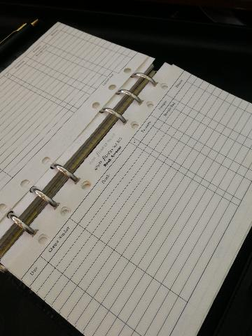 Vintage filofax insert pages