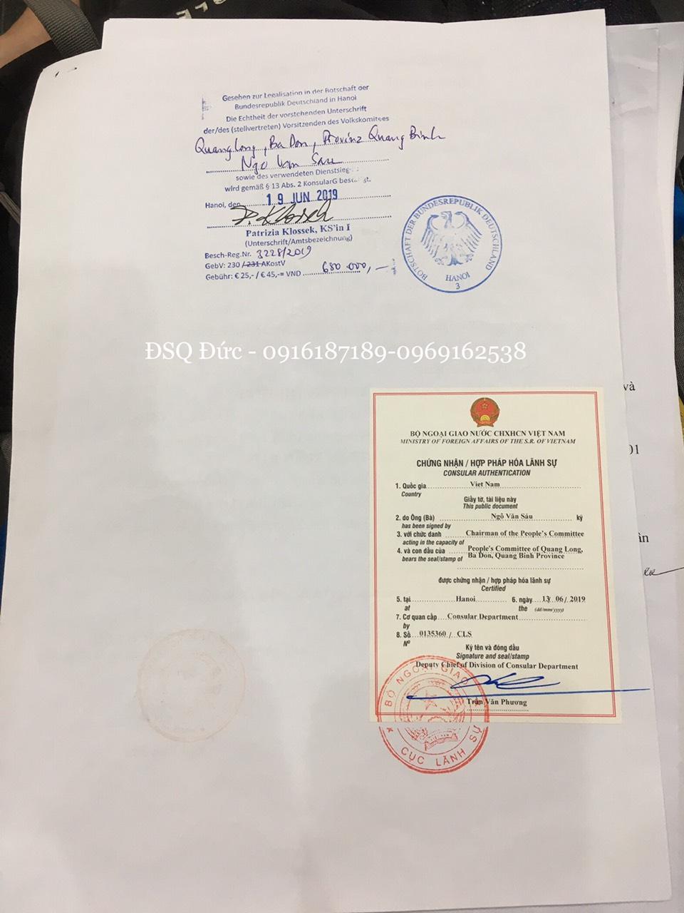 Hợp pháp hóa lanh sự của Bộ ngoại giao Việt Nam và chứng nhận của Đại Sứ quán Đức tại Hà Nội