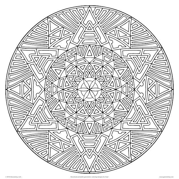 Geometric Coloring Pages For Adults Printable  Download Pdf