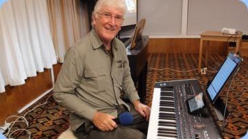 Gordon Sutherland playing his Korg Pa4X. Photo courtesy of Dennis Lyons.