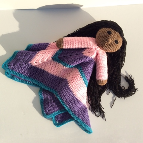 handmade doll, crochet doll, crochet lovey, security blanket, diy toys, handmade toys, african american dolls