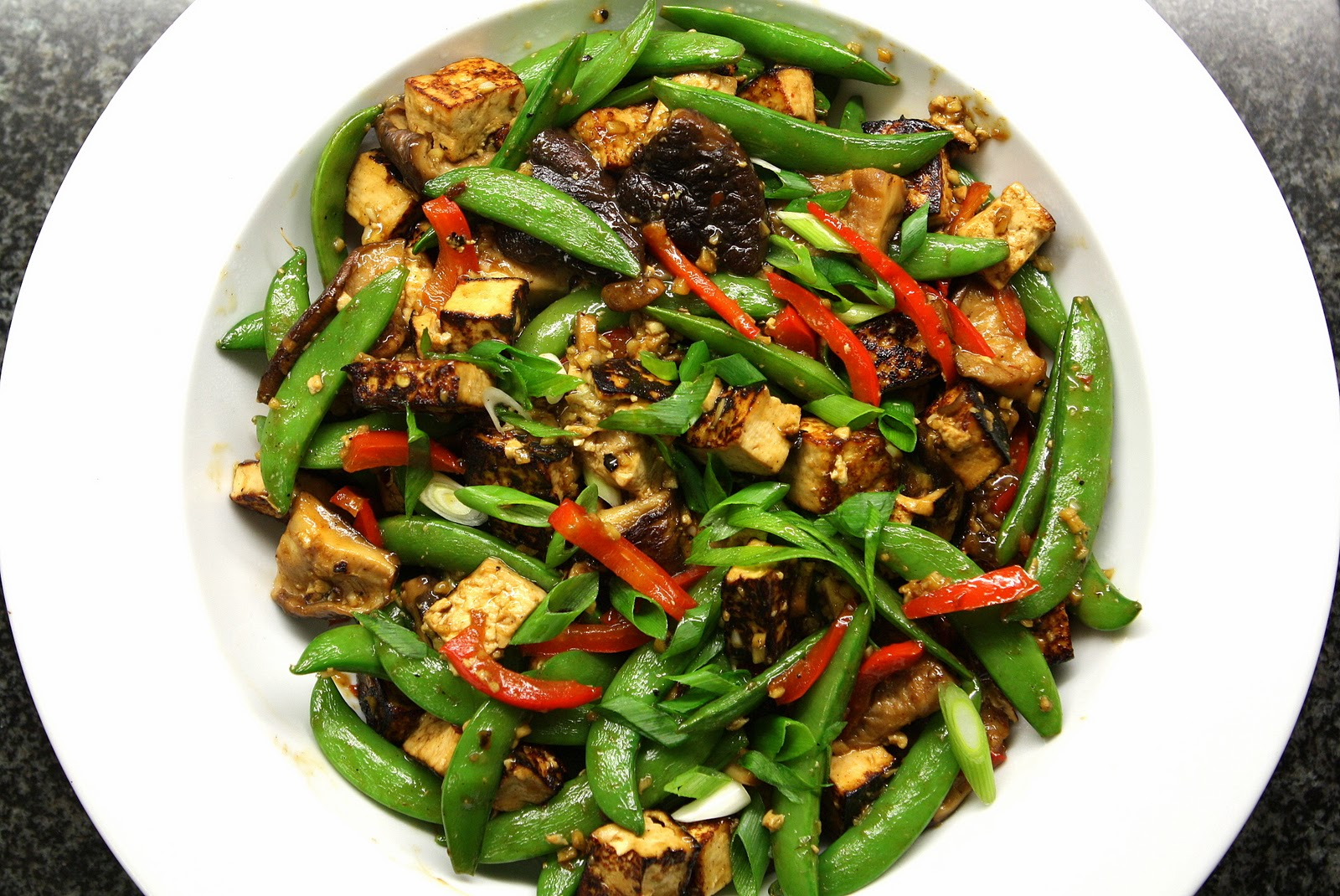 Fresh Local and Best: Snap Pea Shiitake Mushroom Tofu Stir Fry