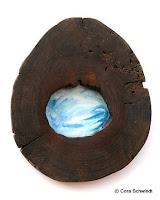 """""""Walwirbel 5. Chakra"""", Öl auf Leinwand hinter lasierte, hohler Baumscheibe, 35x40, 2005"""