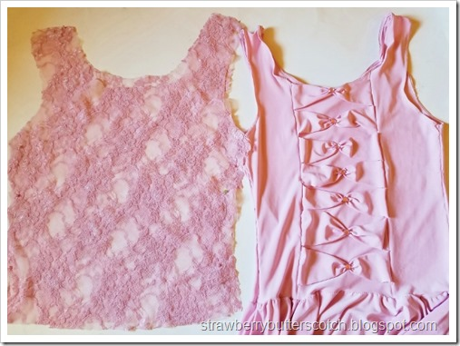 Using the dress, cut a 2 tank top shaped pieces from the lace to make a bodice.