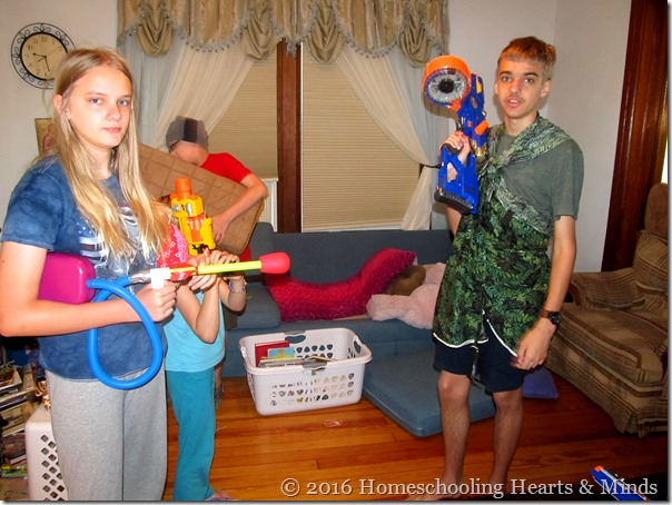 Nerf battle at Homeschooling Hearts & Minds