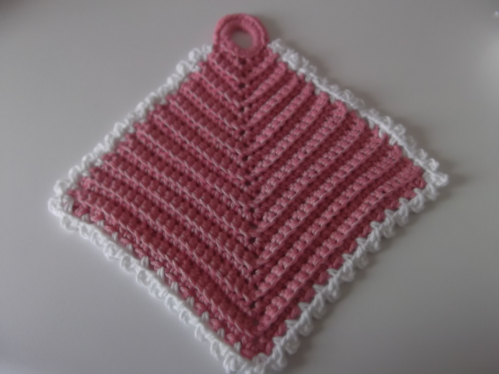 Free Pattern Mitered Dishcloth Knitting : Apple Blossom Dreams: Springtime Mitered Dishcloth