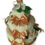 11. kép: Esküvői torták - Esküvői háromszintes virágos szalagos torta