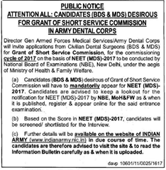 Army Dental Corps Notice 2016