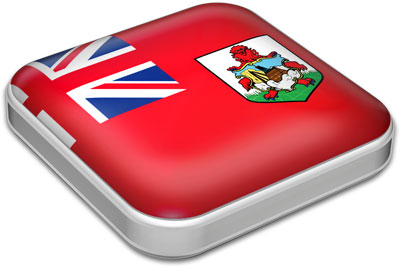 Flag of Bermuda with metallic square frame