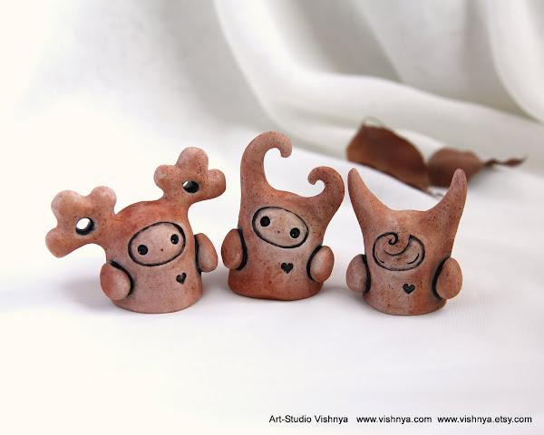 Добрые духи, керамические фигурки, авторская керамика Элли Вишневской