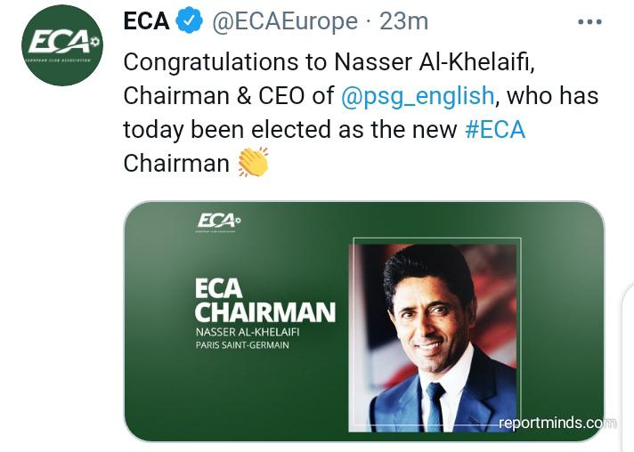 PSG chairman, Nasser Al-Khelaifi appointed as new Chairman of European Club Association (ECA)