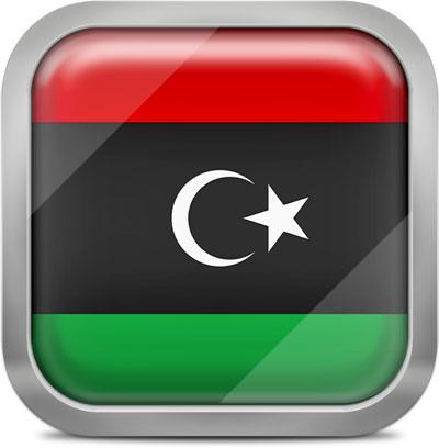 Libya square flag with metallic frame