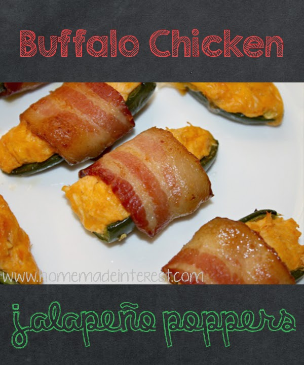 Buffalo Chicken Dip Jalapeno Poppers Wrapped in Bacon on Diane's Vintage Zest!
