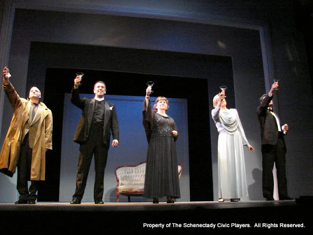 "Marty O'Connor, Tim Orcutt, Susan Katz, Cristine M. Loffredo and Paul Dederick in ""Mystery at Twicknam Vicarage"" as part of THE IVES HAVE IT - January/February 2012.  Property of The Schenectady Civic Players Theater Archive."