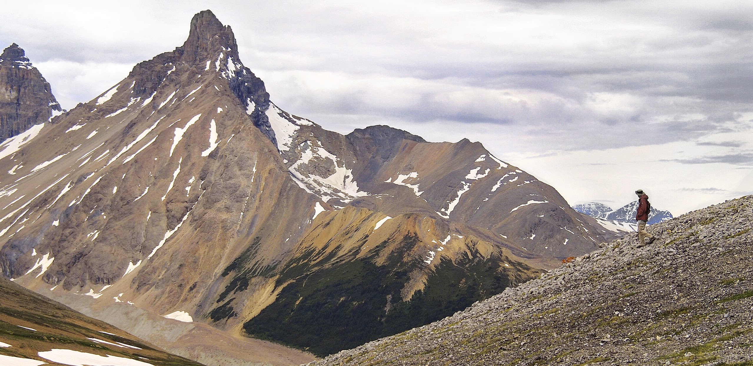 Colorful peaks and terrain seen from Parker Ridge
