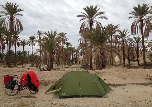 Wilder Zeltplatz mit Palmen (27.790703, 53.812309) an der Nationalstraße 94 zwischen Khonj und Evaz, Provinz Fars, Iran