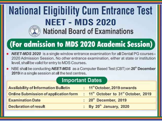 NBE NEET MDS Result 2020 download