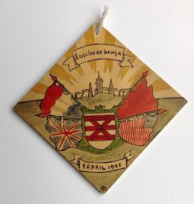 Tegeltje die herinnert aan de bevrijding van Enschede op 1 april 1945. http://www.secondworldwar.nl/enschede/