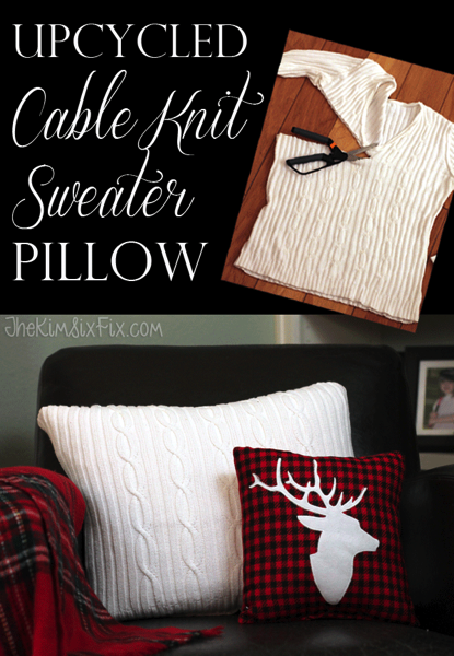 Easy Cable Knit Sweater Pillow Upcycled from an Old Sweater