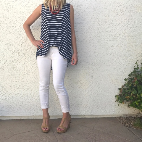 Thrifty Wife, Happy Life- White pants, flowy striped tank top and cork wedge shoes