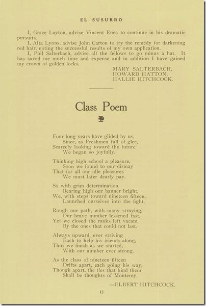 Senior Advice page 2 Class Poem
