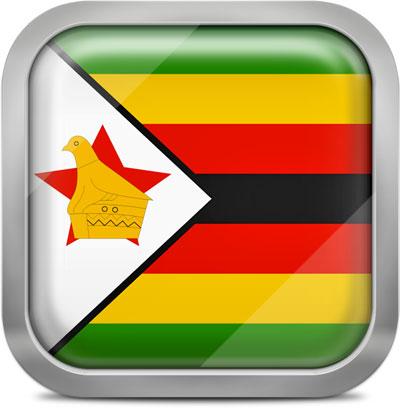 Zimbabwe square flag with metallic frame