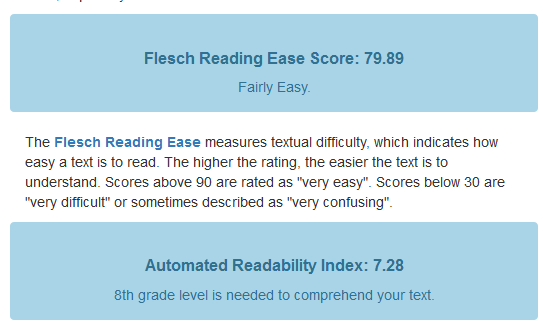 page readability score