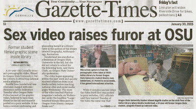 Front page headline 'Sex video raises furor at OSU' Gazette-Times Jan. 30, 2015, p. A1