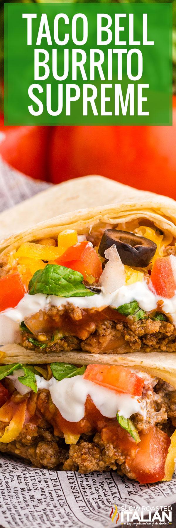 Taco Bell Burrito Supreme Closeup