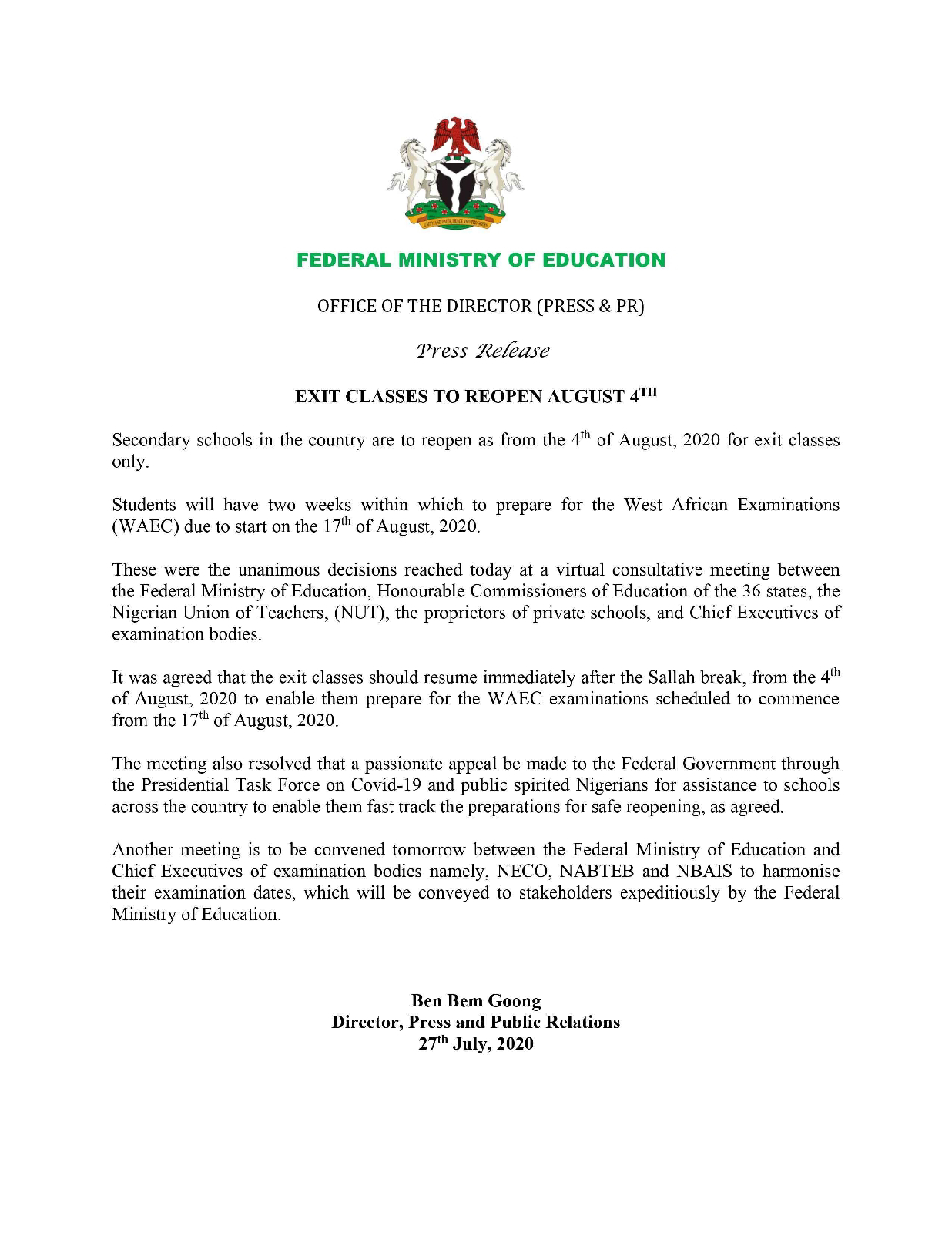 New resumption date for students