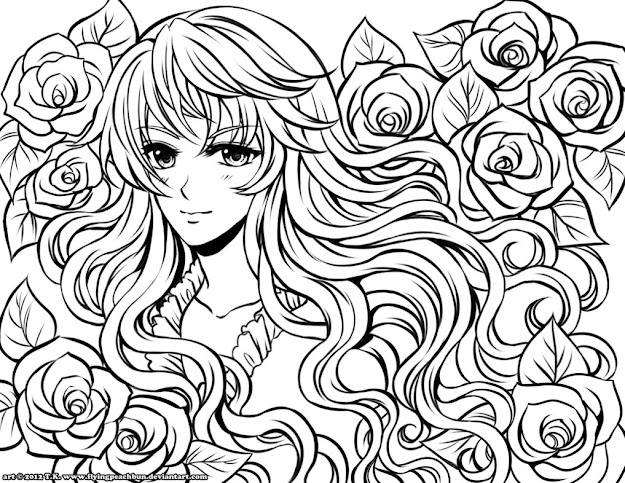 Peach Anime Colouring Pages