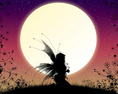 Fairy In Front Of The Moon, Fairies Girls