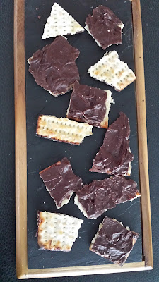 Chocolate Matzo Recipe - 4 Ingredients and 30 minutes, most of which is spent spreading the chocolate